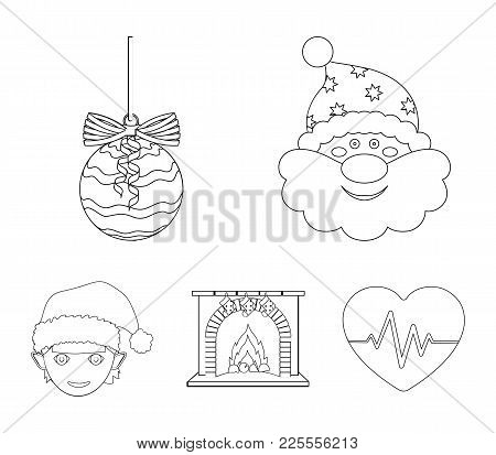 Santa Claus, Dwarf, Fireplace And Decoration Outline Icons In Set Collection For Design. Christmas V