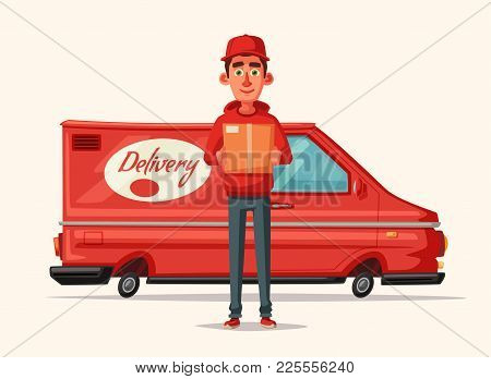 Delivery Service By Van. Car For Parcel Delivery. Cartoon Vector Illustration. Fast Delivery Truck O
