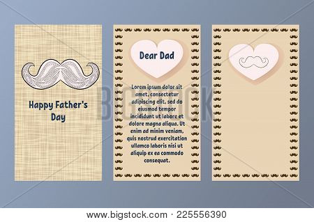 Happy Father's Day Greeting Card. Postcard In Beige And Brown Colors With A Retro Mustache. Gift For