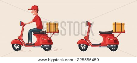 Fast And Free Delivery. Vector Cartoon Illustration. Vintage Style. Food Service. Red Scooter. Retro