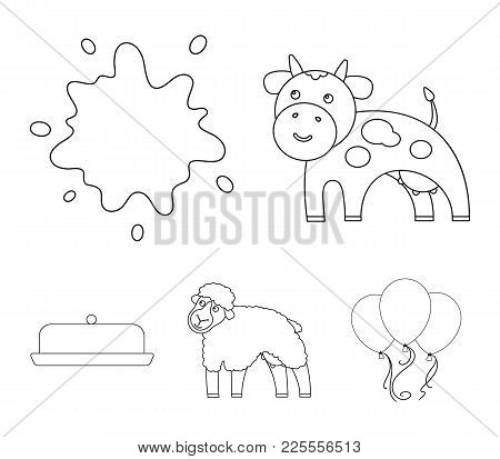 Cow, Sheep, A Drop Of Milk, Butter. Milk Set Collection Icons In Outline Style Vector Symbol Stock I