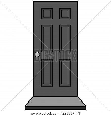 Door With Door Mat Illustration - A Vector Cartoon Illustration Of A Door With Door Mat.