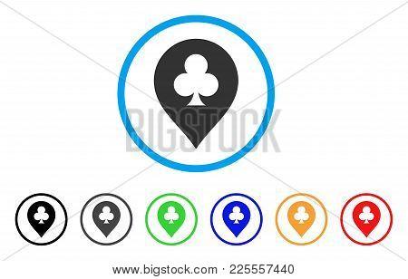 Clubs Casino Pointer Icon. Vector Illustration Style Is A Flat Iconic Clubs Casino Pointer Black Sym