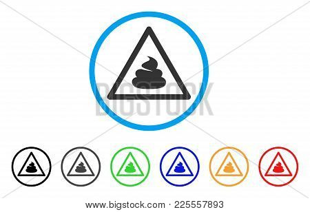 Shit Warning Icon. Vector Illustration Style Is A Flat Iconic Shit Warning Black Symbol With Grey, Y