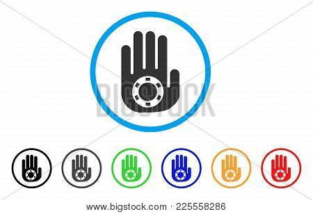 Stop Gambling Palm Icon. Vector Illustration Style Is A Flat Iconic Stop Gambling Palm Black Symbol