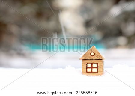 Layout Of An Individual Apartment House From Tree In Snowy Winter / Accommodation In A Warm Cozy Hom