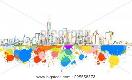 Colorful New York Skyline Sketch. Hand Drawn Vector Illustration, Paint Splatter Color Isolated On W