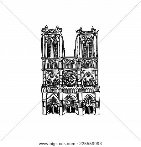 Beautiful Vector Hand Drawn Vintage France Architecture Illustration. Detailed Retro Style Images. S