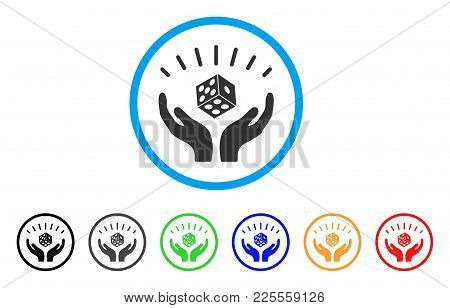 Dice Win Hands Icon. Vector Illustration Style Is A Flat Iconic Dice Win Hands Black Symbol With Gra
