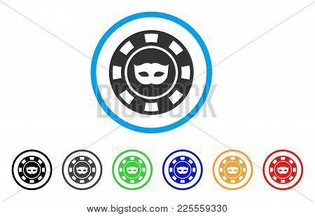 Anonymous Casino Chip Icon. Vector Illustration Style Is A Flat Iconic Anonymous Casino Chip Black S
