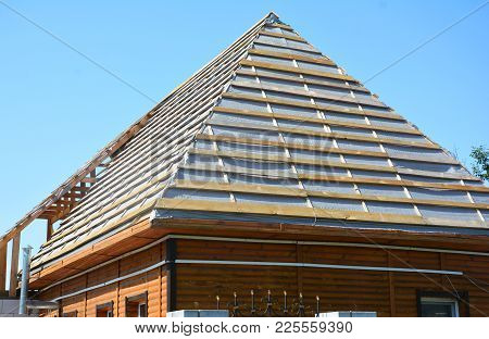 Roof Waterproofing Membrane Coverings Wooden Construction Home Framing With Roof Rafters. Roofing Co