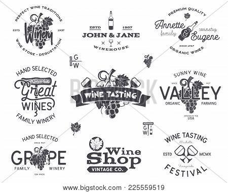 Wine Logos, Labels Set. Winery, Wine Shop, Vineyards Badges Collection. Retro Drink Symbol. Typograp