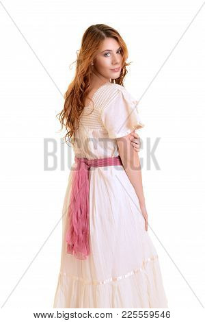 Isolated Redhead Vintage Woman On White Background