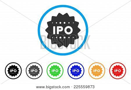 Ipo Token Icon. Vector Illustration Style Is A Flat Iconic Ipo Token Black Symbol With Gray, Yellow,