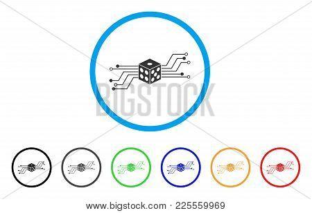 Digital Dice Circuit Icon. Vector Illustration Style Is A Flat Iconic Digital Dice Circuit Black Sym