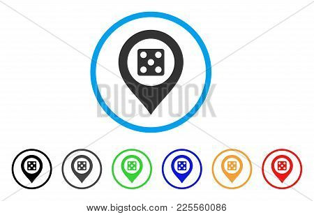 Dice Map Marker Icon. Vector Illustration Style Is A Flat Iconic Dice Map Marker Black Symbol With G