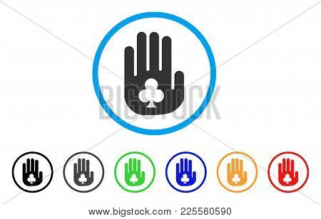 Stop Gambling Hand Icon. Vector Illustration Style Is A Flat Iconic Stop Gambling Hand Black Symbol