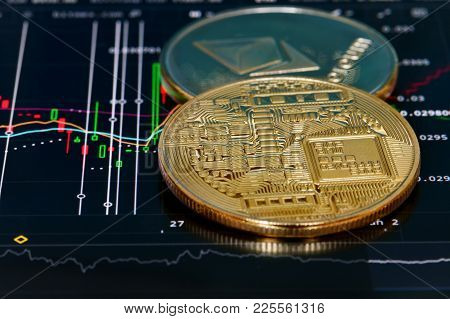 Crypto Currency Bitcoin, Btc, Bit Coin. Bitcoin And Ethereum Golden Coins On A Chart. Blockchain Tec