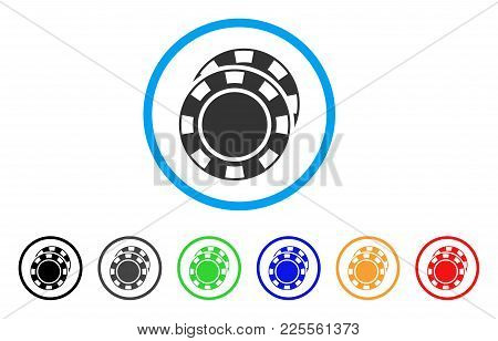 Casino Chips Icon. Vector Illustration Style Is A Flat Iconic Casino Chips Black Symbol With Grey, Y