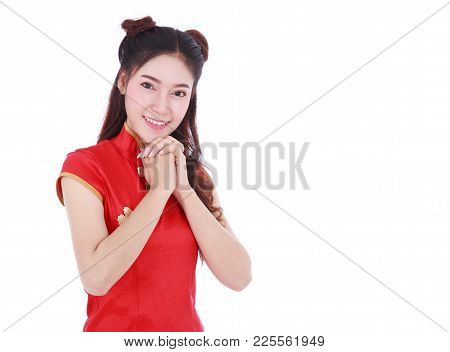 Woman Wear Red Cheongsam In Concept Of Happy Chinese New Year Isolated On White Background