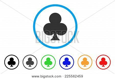 Clubs Suit Icon. Vector Illustration Style Is A Flat Iconic Clubs Suit Black Symbol With Gray, Yello