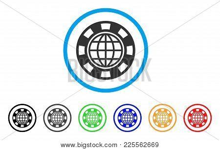 Global Casino Chip Icon. Vector Illustration Style Is A Flat Iconic Global Casino Chip Black Symbol