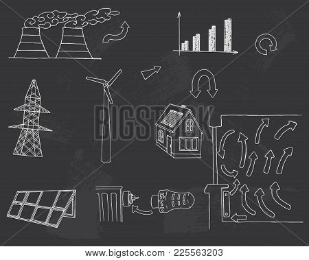 The Elements Of A Nuclear Reactor. The Strength Of The Sun And Wind. Renewable Energy Vector Illustr