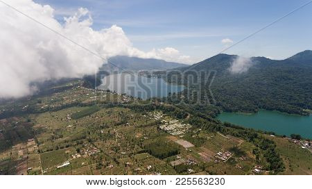 Aerial View Of Over Twin Lakes Buyan And Tamblingan In North Bali, Indonesia, A Caldera Lakes At Bal