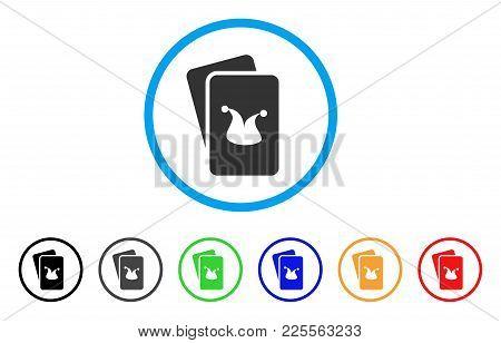 Joker Gaming Cards Icon. Vector Illustration Style Is A Flat Iconic Joker Gaming Cards Black Symbol