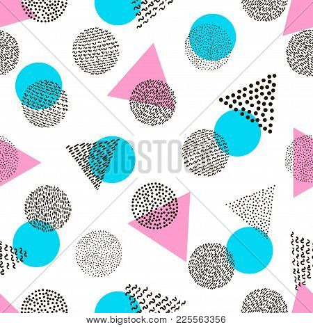 Colorful Geometric Seamless Pattern. Bright Background. 80's - 90's Years Design Style. Trendy