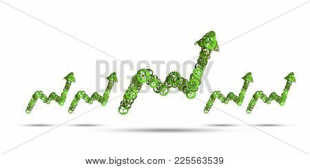 Growing Graph Made Of Gears And Cogwheels On White Background