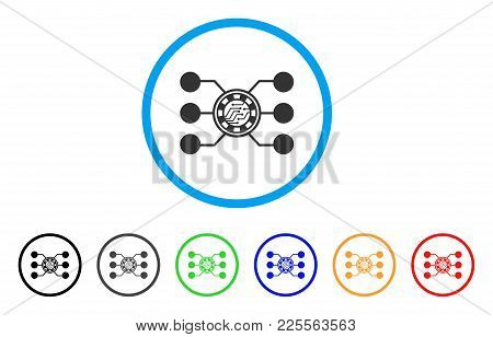 Casino Chip Circuit Icon. Vector Illustration Style Is A Flat Iconic Casino Chip Circuit Black Symbo