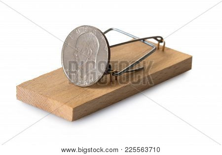 Mousetrap With Dollar Coin On White Isolated Background