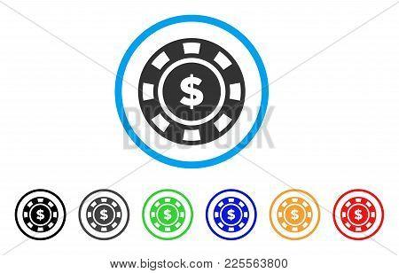 Dollar Casino Chip Icon. Vector Illustration Style Is A Flat Iconic Dollar Casino Chip Black Symbol