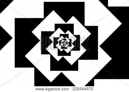 Spiral Of Rotating Squares, Spiral From Squares - Black And White Pattern
