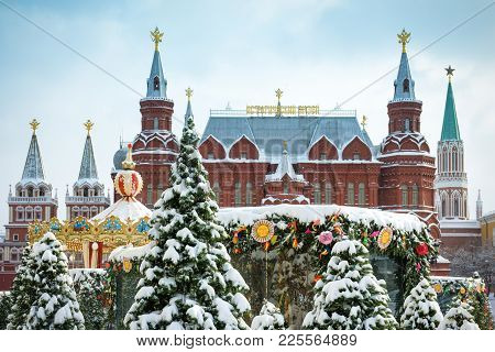 Moscow, Russia - February 5, 2018: State Historical Museum On The Manege Square In The Winter. Centr