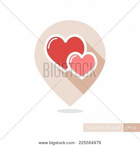 Two Heart Linear Vector Pin Map Icon. Valentine Day Symbol. Map Pointer. Vector Illustration, Romanc