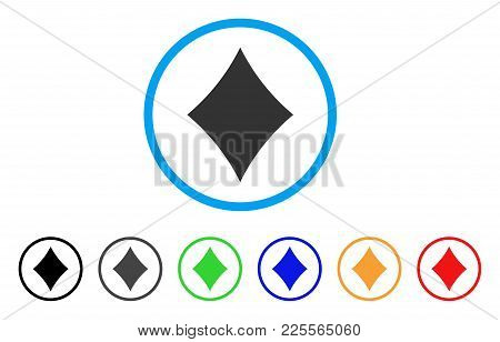 Diamonds Suit Icon. Vector Illustration Style Is A Flat Iconic Diamonds Suit Black Symbol With Grey,
