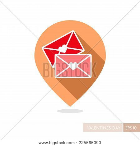 Two Envelope Pin Map Icon. Love Letter. Valentines Day Symbol. Map Pointer. Vector Illustration, Rom