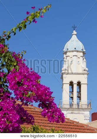 Saint Nickolas steeple at Svoronata village of Kefalonia island in Greece poster