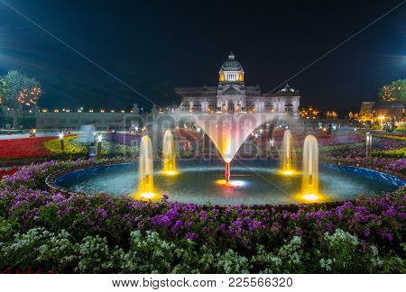 Bangkok, Thailand - February 6, 2018 :  Fountain And Colorful Flowers With Ananta Samakhom Throne Ha