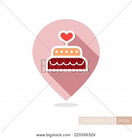 Wedding Cake Dessert With Heart Vector Pin Map Icon. Valentines Day Symbol. Map Pointer. Vector Illu