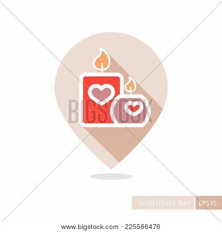 Burning Candle With Hearts Pin Map Icon. Valentines Day Symbol. Map Pointer. Vector Illustration, Ro