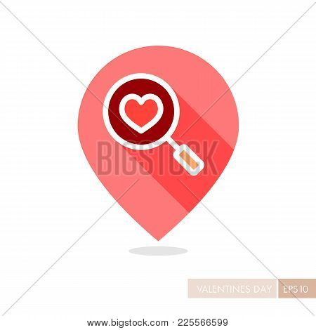 Heart Search Pin Map Icon. Valentines Day Symbol. Map Pointer. Vector Illustration, Romance Elements