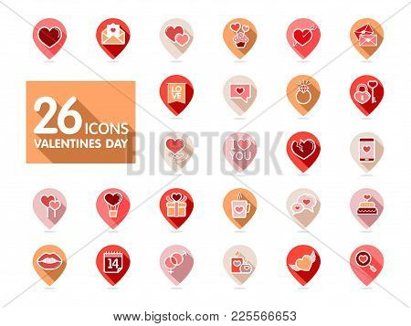 Valentine Day Set Pin Map Icons. Vector Illustration, Romance Elements. Map Pointer. Sticker, Badge.