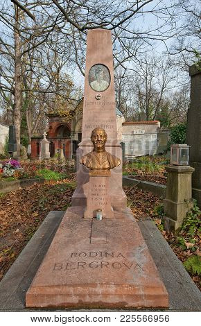 Prague, Czech Republic - November 4, 2017: Tomb Of Augustin Berger (1861-1945) And His Relatives On