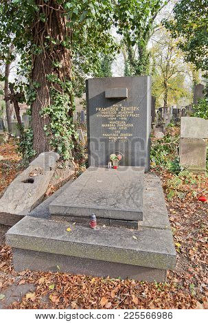Prague, Czech Republic - November 4, 2017: Tomb Of Frantisek Zenisek (1849-1916) On Olsany Cemetery