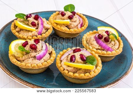 Snack Tartlets With Meat Pie. Studio Photo