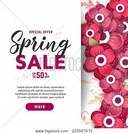 Paper Art Of  Spring Origami Sale Banner Set Concept. 50 Percent Discount .