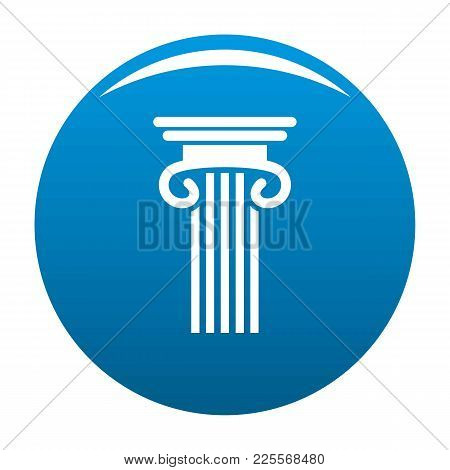 Double Columned Column Icon Vector Blue Circle Isolated On White Background